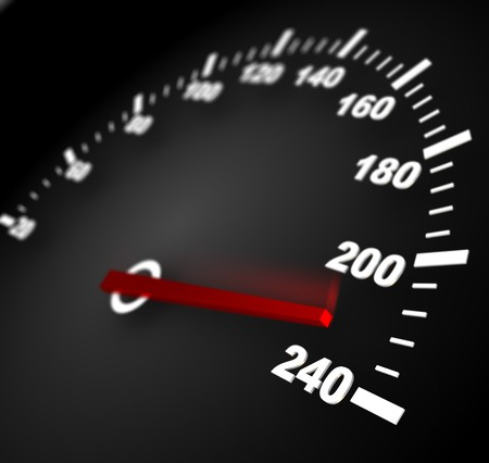 3d illustration of speedometer with moving arrow and high speed illustration