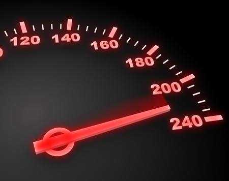 abstract 3d illustration of red light speedometer with high speed Stock Illustration - 7744503