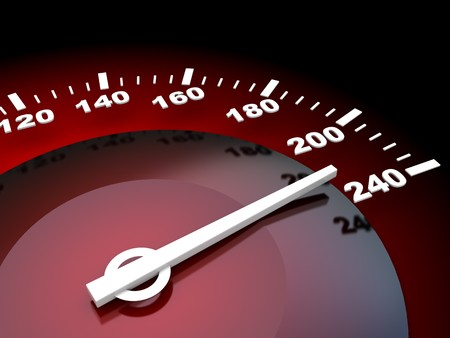 abstract 3d illustration of speed meter with red backlight Stock Illustration - 7744557