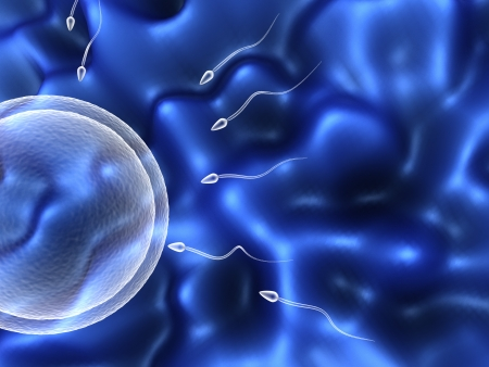 abstract 3d illustration of sperm and egg cells over blue background Stock Illustration - 7744660
