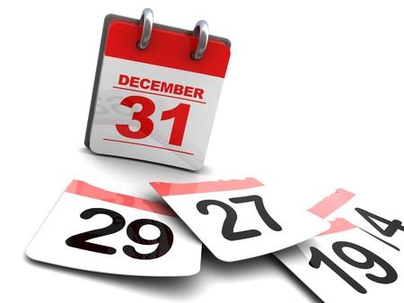 the end: 3D Abbildung der Jahreskalender und Seiten auf Etage, Zeit-Passing-Konzept