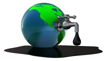 exploitation: abstract 3d illustration of oil faucet in earth globe Stock Photo
