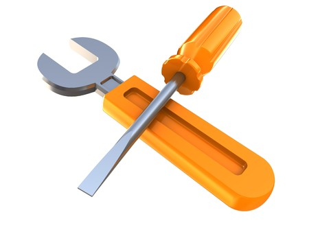 3d illustration of wrench and screwdriver isolated over white background Stock Illustration - 7744504