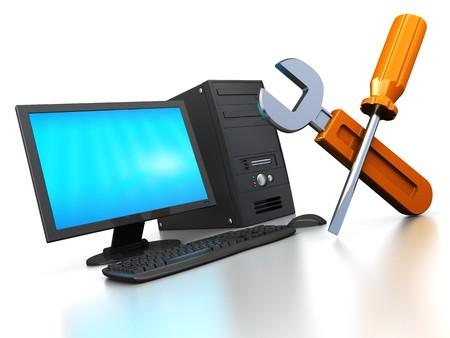 web service: Ilustraci�n 3d abstracta del concepto de servicio de reparaci�n de equipo