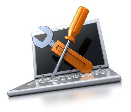 3d illustration of laptop computer with wrench and screwdriver, computer repair service concept illustration