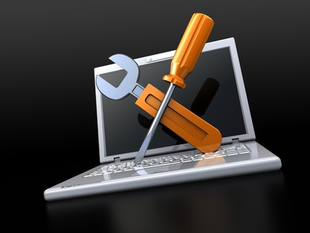 computer repair: 3d illustration of laptop with wrench and screwdriver, computer service concept