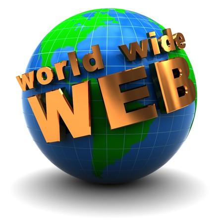worldwide web: ilustraci�n 3d abstracto de globo terr�queo con el texto 'World Wide Web'