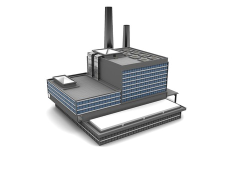 factory building: 3d illustration of factory building over white background Stock Photo