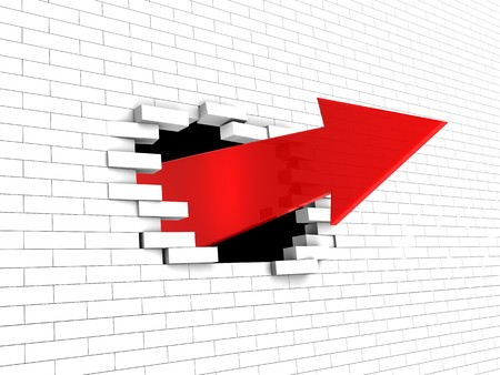 abstract 3d illustration of arrow breaking white brick wall Stock Illustration - 7914266