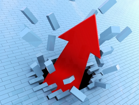 adversity: 3d illustration of red arrow breaking wall, success concept