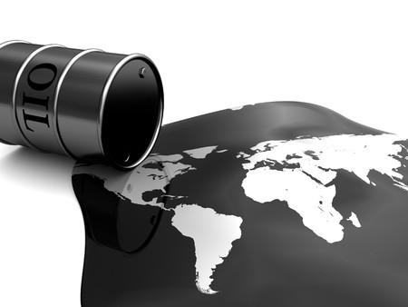abstracte 3d illustratie van olie vat en kaart van de wereld, vervuiling concept