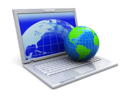 access: abstract 3d illustration of laptop computer with earth globe, over white background Stock Photo
