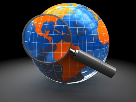 3d illustration of earth globe with magnify glass, internet search concept Stock Illustration - 7914260
