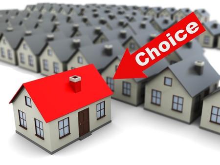 housing search: illustrazione 3d astratto di cercare casa concetto, selezione casa Archivio Fotografico