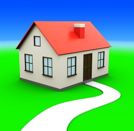 abstract 3d illustration of generic private house over green meadow Stock Illustration - 7914195