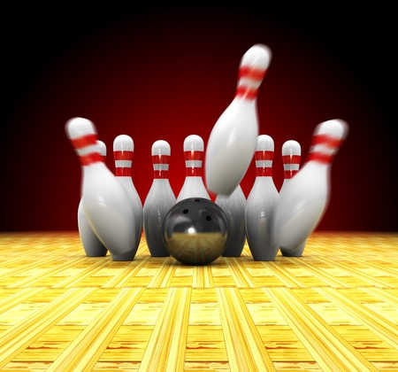 scoring: abstrat 3d illustration of bowling strike over dark red background