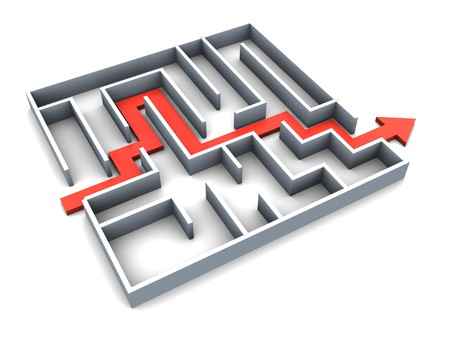 3d illustration of succefull completed maze with red track arrow