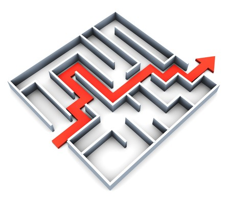 completed: abstract 3d illustration of succefull completed maze with red track arrow Stock Photo