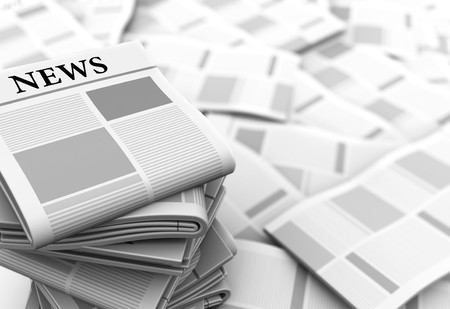 informed: abstract 3d illustration of gray newspapers background