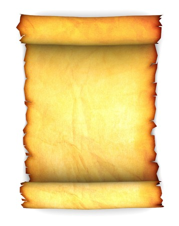 abstract 3d illustration of ancient paper scroll over white background illustration