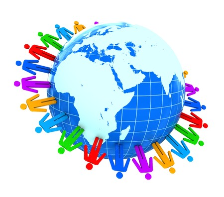 abstract 3d illustration of colorful people around earth Stock Illustration - 7914245