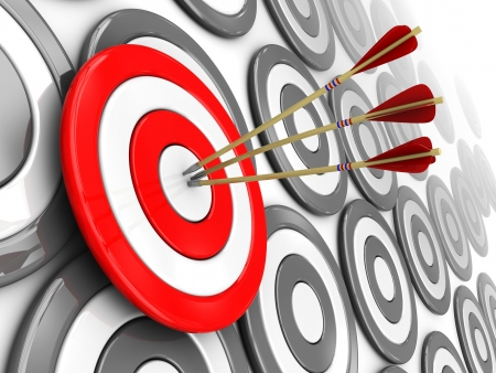 successful strategy: 3d illustration of one selected target with three arrows, right target concept Stock Photo