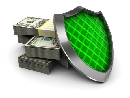 abstract 3d illustration of money stack and shield illustration