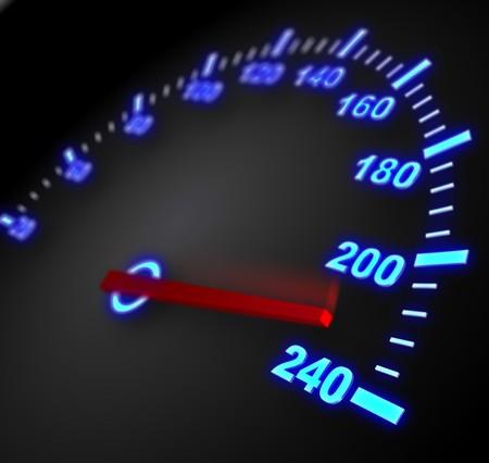 v�locit�: illustration 3D de compteur de vitesse avec des mobiles arrow et haute vitesse