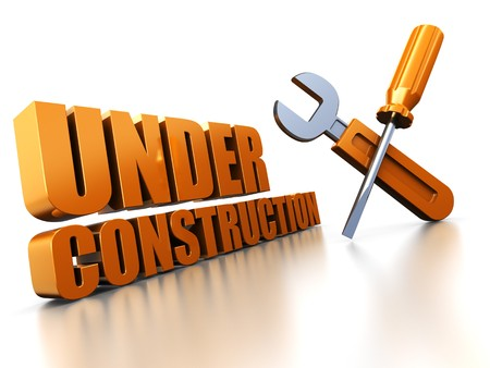 3d illustration of under construction sign, over white background illustration