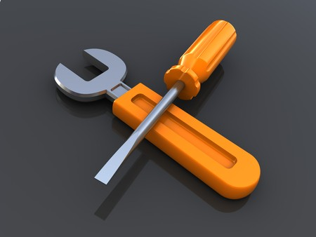 3d illustration of wrench and screwdriver over metal background Stock Illustration - 7914205