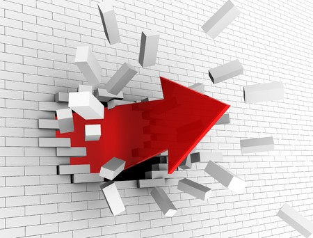 3d illustration of strong red arrow breaking white wall Stock Illustration - 8077751