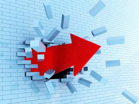 abstractr 3d illustration of red arrow breaking blue bricks wall illustration