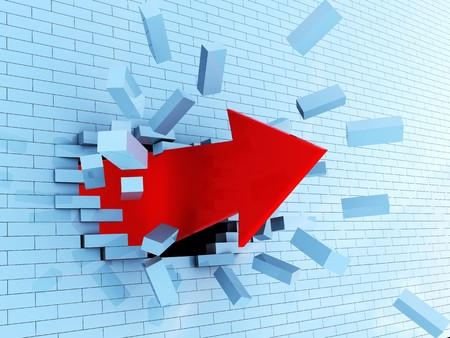 obstacle course: abstractr 3d illustration of red arrow breaking blue bricks wall