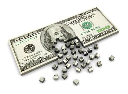 illustration 3d abstraite du billet de dollar assemblage de blocs