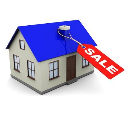 Ilustración 3D de casa con la etiqueta y el signo «venta» en él  Foto de archivo