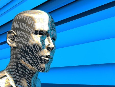 robot head: abstract 3d illustration of digital head over blue background