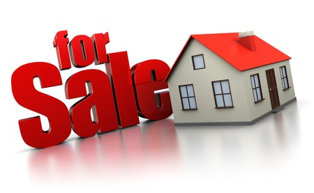 3d illustration of house for sale sign, over white background Stock Illustration - 8077740