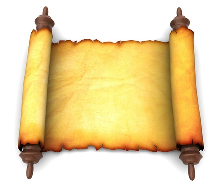 3d illustration of an ancient scroll over white background illustration