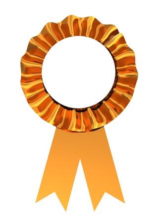 3d illustration of golden ribbon award isolated over white background Stock Illustration - 8077713