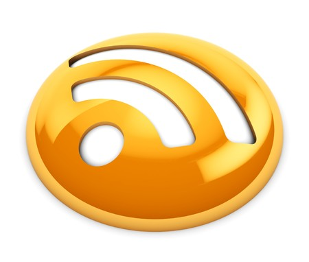 gloss: 3d illustration of gloss orange rss icon or button, over white background