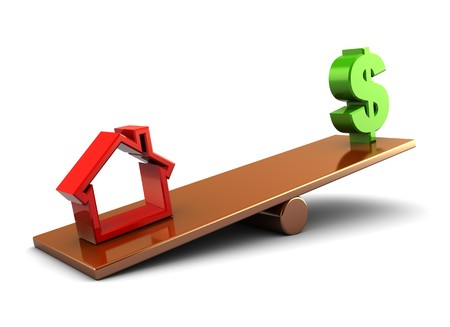 3d illustration of house and money on scale board, over white background Stock Illustration - 8077722