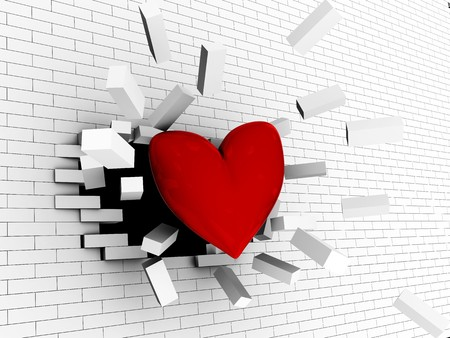 abstract 3d illustration of red heart breaking wall, strong love concept Stock Illustration - 8077753