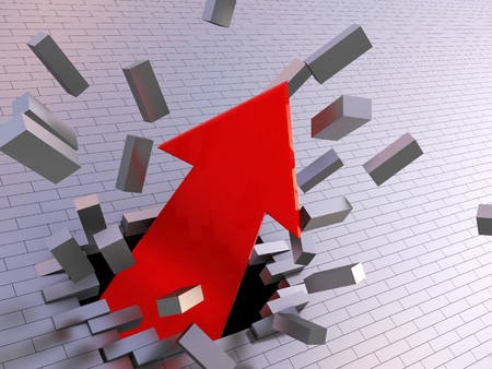 abstract 3d illustration of strong arrow breaking brick wall illustration