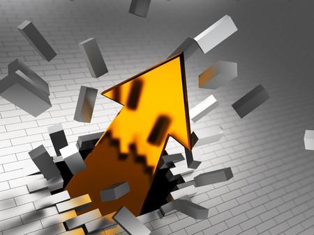 obstacle course: 3d illustration of golden arrow breaking steel bricks wall