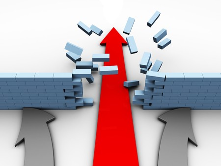 abstract 3d illustration of red arrow breaking brick wall in competition Stock Illustration - 8103521