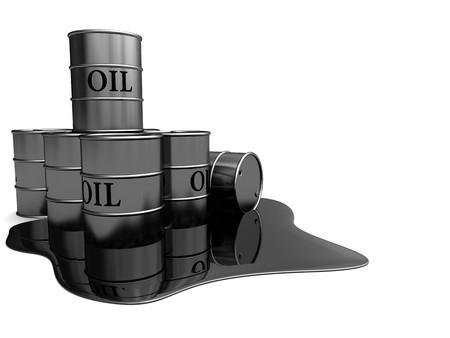 alluminum: 3d illustration of oil barrels over white background