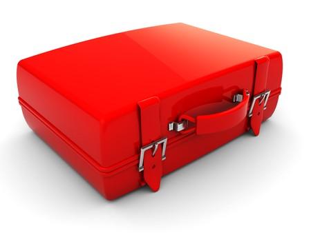 3d illustration of single red travel case, over white background illustration