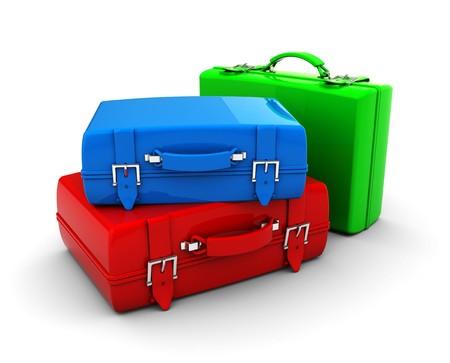 suitcases: 3D illustratie van kleurrijke reistassen op witte achtergrond