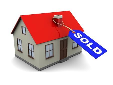 sold small: illustrazione 3d astratto della casa con etichetta blu con la didascalia venduto