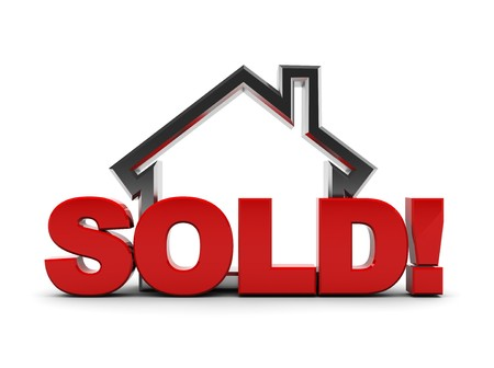 real estate sold: 3d illustration of house symbol with text sold! over white background